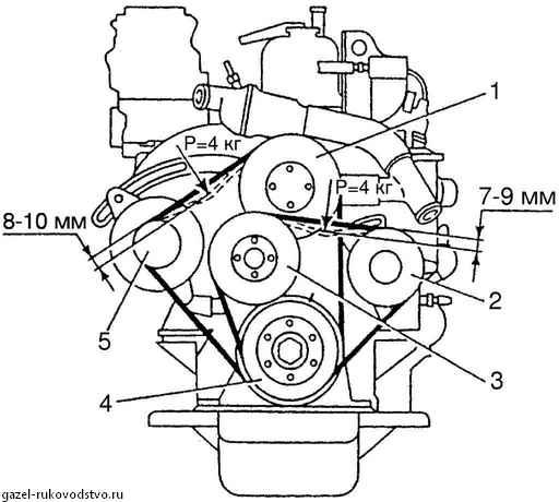 схема установка ремня генератора газель